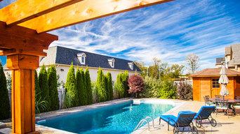 Backyard Pools & Bar Area with Pergola