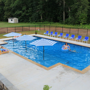 Pool - large rustic backyard concrete and rectangular natural pool idea in DC Metro