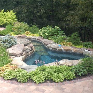 Backyard spa, fireplace and bar
