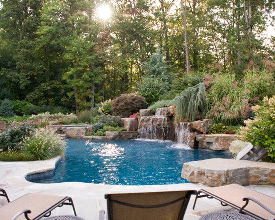 SaveEmail. Backyard Swimming Pool Waterfall Design  ...