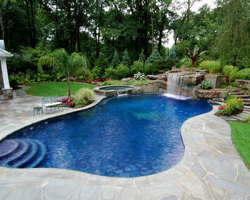 Backyard swimming pool waterfall design bergen county nj for Pool design nj