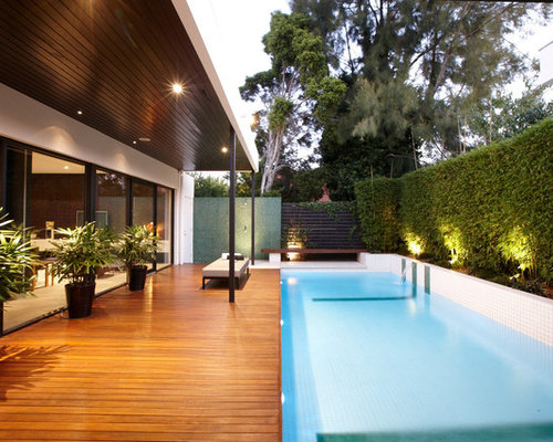 inspiration for a contemporary lap pool remodel in melbourne with decking