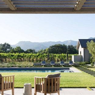 Modelo de casa de la piscina y piscina alargada, de estilo de casa de campo, rectangular, en patio trasero