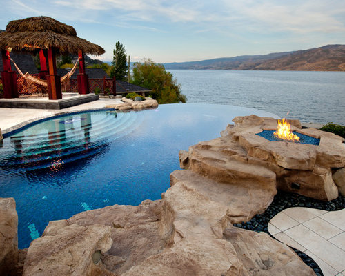 Raised fire pit houzz for Pool design vancouver