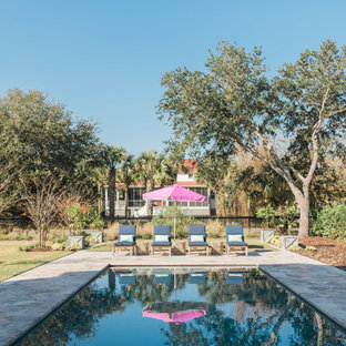 Example Of A Coastal Backyard Rectangular Pool Design In Charleston