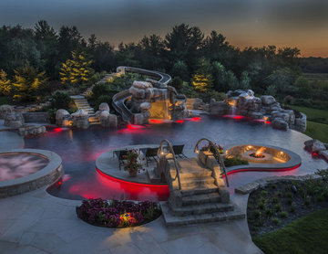 Beautiful Pool with LED Lighting Red
