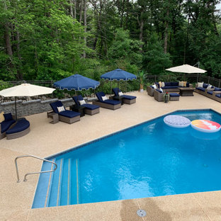 Immagine di una grande piscina classica personalizzata dietro casa con pedane
