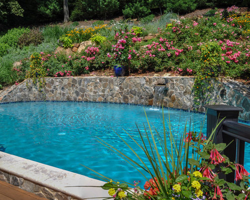 Retaining wall pool houzz for Pool design retaining wall