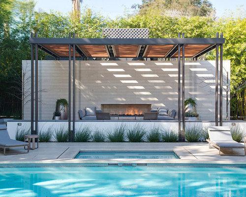 Ext rieur moderne avec un abri de piscine ou pool house - Pool house piscine moderne saint paul ...