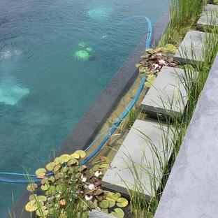 Idee per una piscina naturale country rettangolare dietro casa con pedane