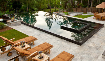 Black Reflective Infinity Edge Contemporary Pool