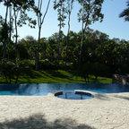Inground Swimming Pool Deck Around Gunite Pool In White
