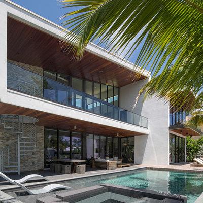 Large trendy backyard rectangular lap pool photo in Miami with decking