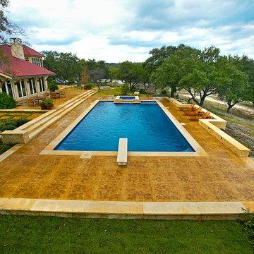 Boerne Large Rectangle Diving Pool/All Tile Spa/Outdoor Living