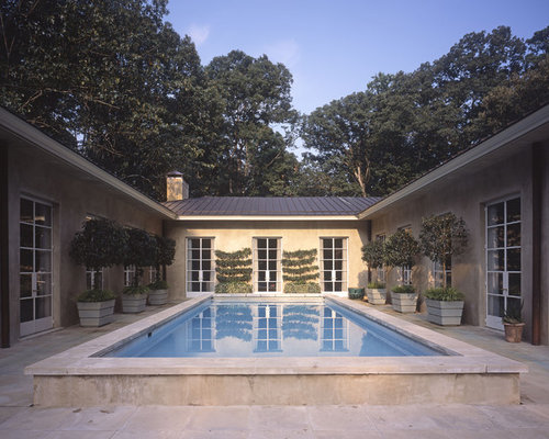 U shaped house pool design ideas remodels photos for U shaped house plans with courtyard pool