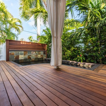 Brazilian ipe Deck & Mahogany Waterfall Feature