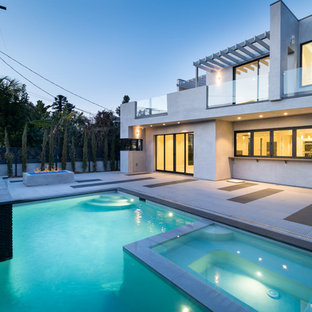 Hot tub - contemporary backyard concrete paver and rectangular hot tub idea in Los Angeles & 75 Most Popular Contemporary Pool Design Ideas for 2018 - Stylish ...