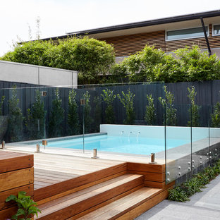 Contemporary rectangular aboveground pool in Melbourne with decking.