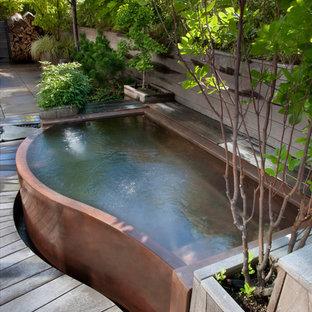 Idées déco pour une grand piscine à débordement contemporaine sur mesure avec un bain bouillonnant.