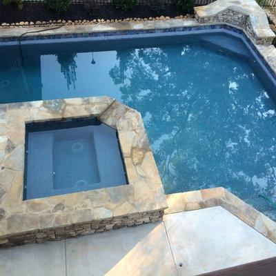 Small arts and crafts backyard custom-shaped natural pool photo in Atlanta with decking