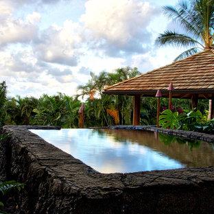 Foto di una grande piscina fuori terra tropicale rettangolare dietro casa con una dépendance a bordo piscina