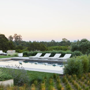 Modelo de piscinas y jacuzzis alargados, campestres, de tamaño medio, rectangulares, en patio trasero, con adoquines de hormigón