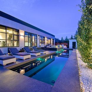 Design ideas for a contemporary pool in Calgary.