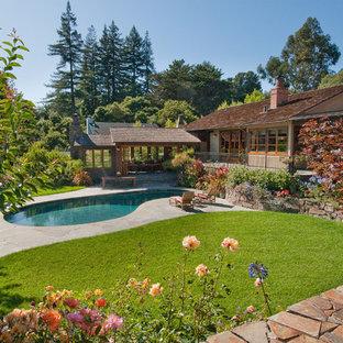 Diseño de piscina rústica, de tamaño medio, tipo riñón, en patio trasero