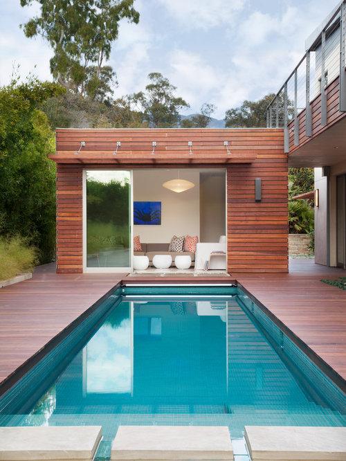 Mid Sized Trendy Backyard Rectangular Lap Pool House Photo In Santa Barbara  With Decking