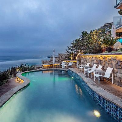 Island style backyard custom-shaped pool photo in Los Angeles