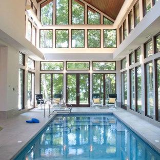 Idee per una grande piscina coperta design rettangolare