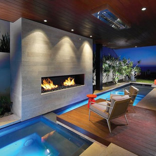 Inspiration for a modern indoor custom-shaped pool in Orange County.