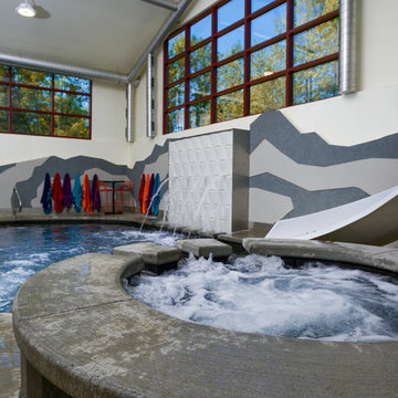 Cedar Grove, WI Indoor Swimming Pool and Hot Tub with Waterwall Water Feature
