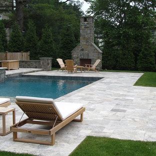 clean lines of Silver Travertine surface