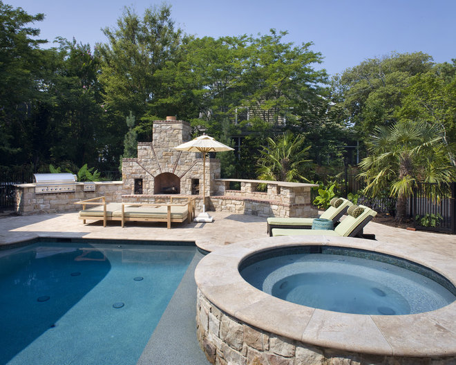 Contemporary Pool by Dewson Construction Company