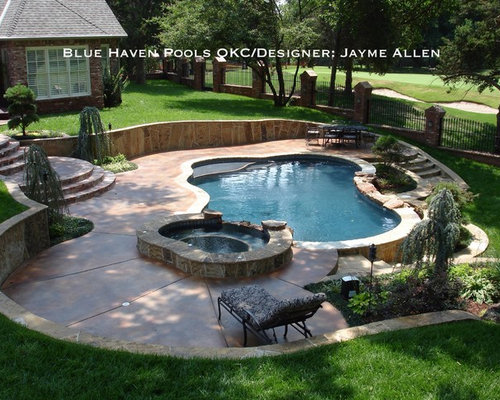 Oklahoma flagstone coping home design ideas pictures for Pool design houzz
