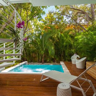 Idee per una piscina a sfioro infinito design rettangolare di medie dimensioni e dietro casa con pedane e una vasca idromassaggio
