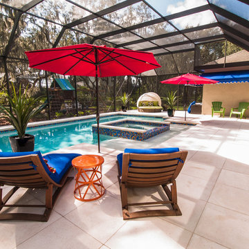 Colorful Contemporary Glass Tiled Pool