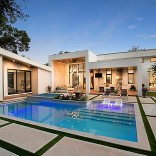 Inspiration For A Contemporary Backyard Concrete And Rectangular Pool House  Remodel In Tampa