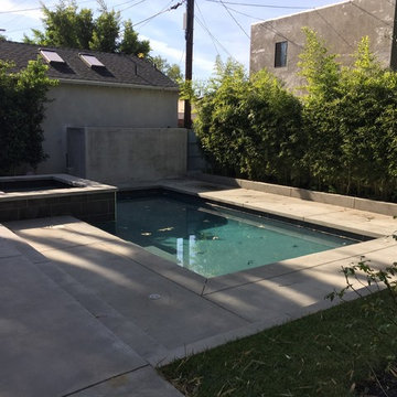 Contemporary Backyard Pool with Hot Tub in Kings Rd West Hollywood