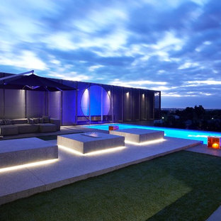 Photo of a contemporary rectangular swimming pool in Melbourne.