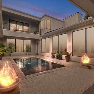 Exemple d'une piscine à débordement tendance de taille moyenne et rectangle avec une cour et du béton estampé.