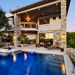 contemporary pool by Pillar Custom Homes, Inc.