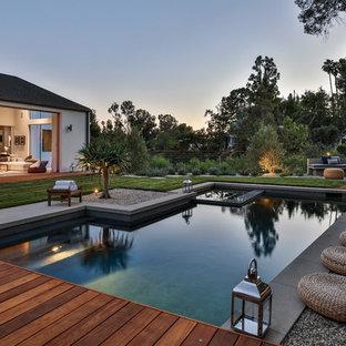 Immagine di una piscina monocorsia minimal personalizzata dietro casa con una vasca idromassaggio e pedane