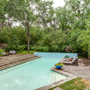 Inspiration for a contemporary pool in Dallas with decking.