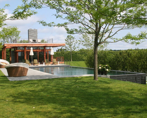 Backyard Pool House Designs pool house Contemporary Infinity Pool House Idea In Boston With Decking Houzz