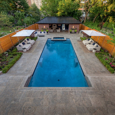 Inspiration for a contemporary rectangular pool remodel in Toronto