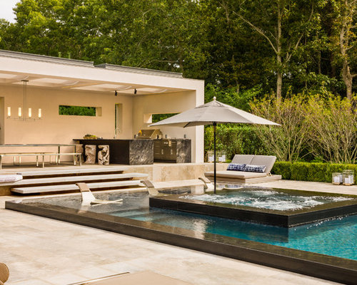Attrayant Inspiration For A Large Contemporary Backyard Rectangular Hot Tub Remodel  In New York