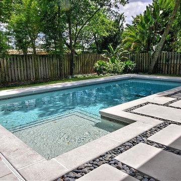 Contemporary Poured Concrete Pool Deck