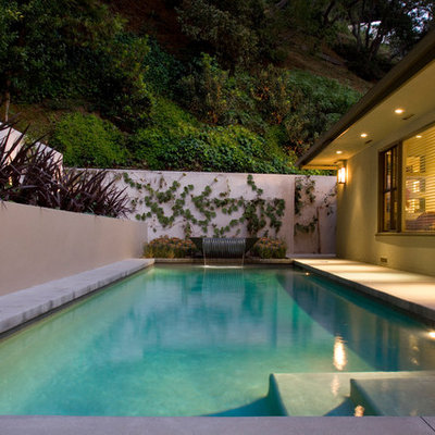 Inspiration for a mid-sized contemporary backyard concrete and rectangular pool remodel in Los Angeles